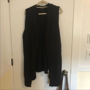 Relativity Black Knit Open Front Sleeveless Vest